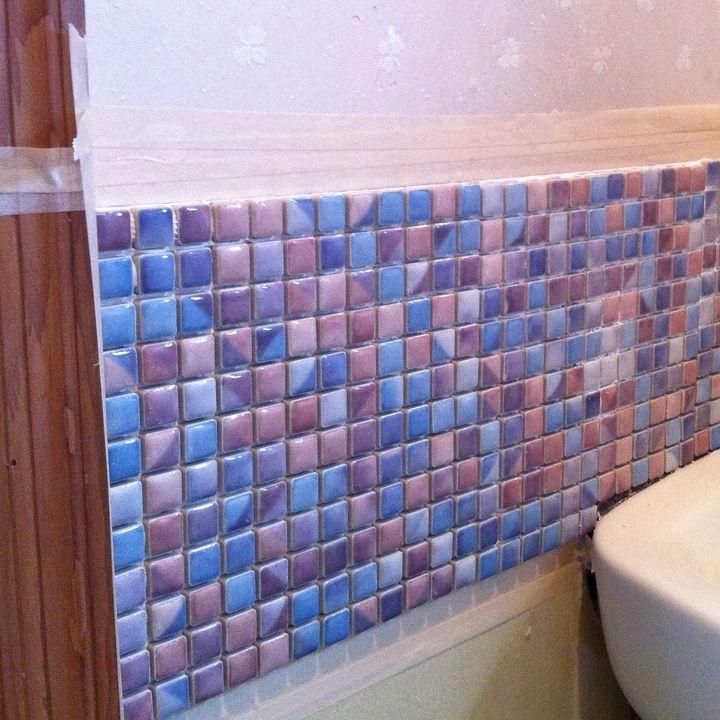洗面台横の壁をタイルにリフォーム Diyレシピ 洗面台 タイル Diy タイル