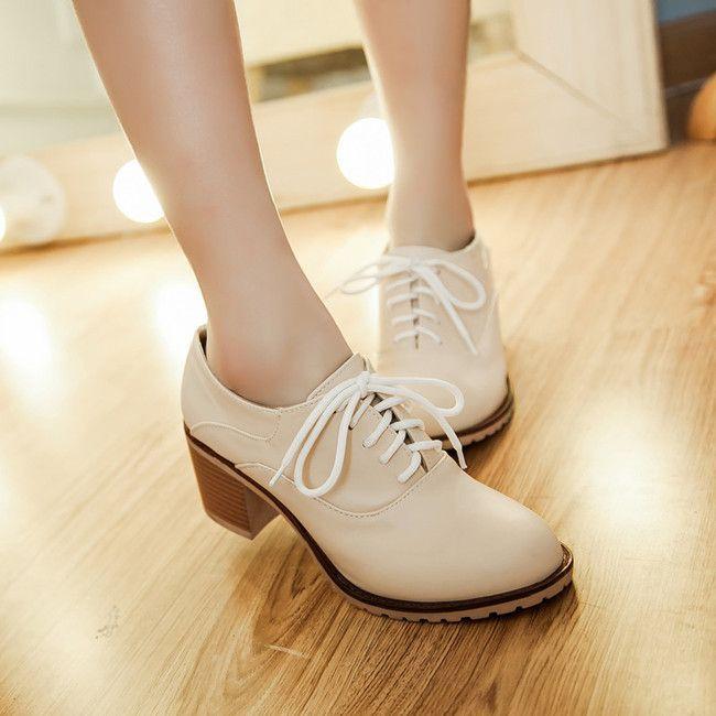 Новая мода обувь женщина толстые высокие каблуки лодыжки ботинки женщин оксфорд обувь для женщин обувь зашнуровать sapatos femininos размер 34-44