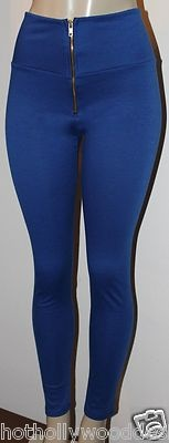 Black Thick Stretch High Waisted Zipper Front Skinny Tight Leggings. Available in S M L and in BLACK!