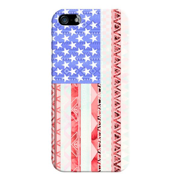 iPhone 6 Plus/6/5/5s/5c Case - American flag USA Red Blue White Aztec... found on Polyvore