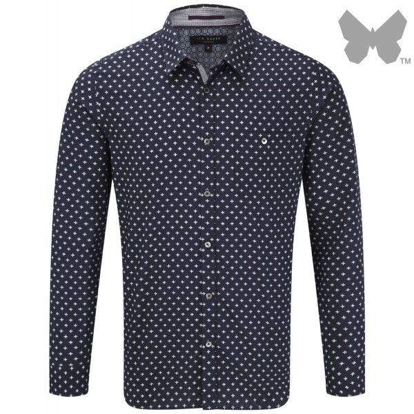Ted Baker Men's Cross Print Shirt - Navy - Men's Designer Shirts - Men's Designer Shirts / Tops - MEN | Country Attire