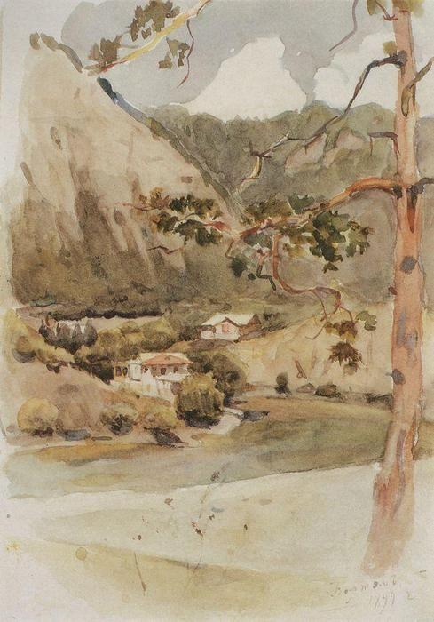 'Borjomi', Watercolour by Vasili Ivanovich Surikov (1848-1916, Russia)