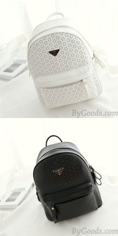 Casual Nice Solid Hollow Flower School Bag Travel Backpack ! A super cute backpack. I like white. #backpack #rucksack #cute #school #bag #travel #casua #hollow