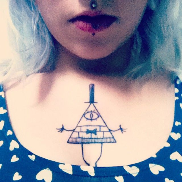 My Gravity Falls tattoo in progress.  First step : Bill Cipher.   Don't forget, reality is an illusion, the universe is a hologram.   http://instagram.com/melisandelei/