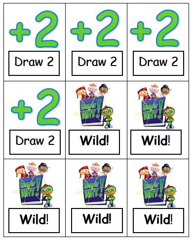 Printable Super Why Sight Word Uno Cards