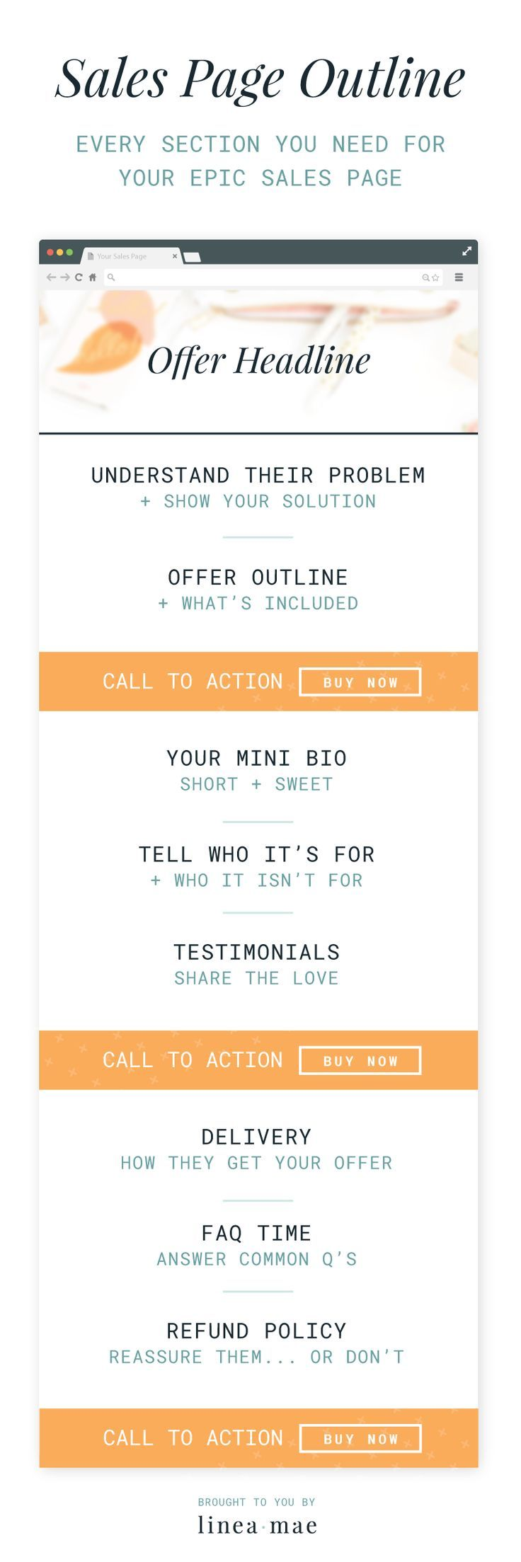 This sales page template outlines everything you need to create your first sales page. This outline is great to help you get ready for your first launch. BONUS: Download a free checklist so that you have this while you create your own sales page.