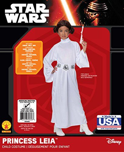 Star Wars Child's Deluxe Princess Leia Costume, Small This Deluxe Princess Leia Costume is an officially licensed authentic Star Wars Costume. This Deluxe Star Wars Princess Leia Costume includes Princess Leia costume wig with side buns, white long-sleeved Princess Leia Costume dress, and printed belt.  #Halloween