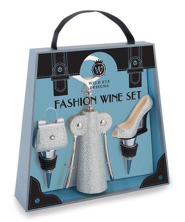 Silver Glitter Fashion Wine Set by Wild Eye Designs #zulily #zulilyfinds
