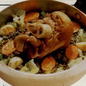 Jarret de porc aux lentilles vertes du Puy