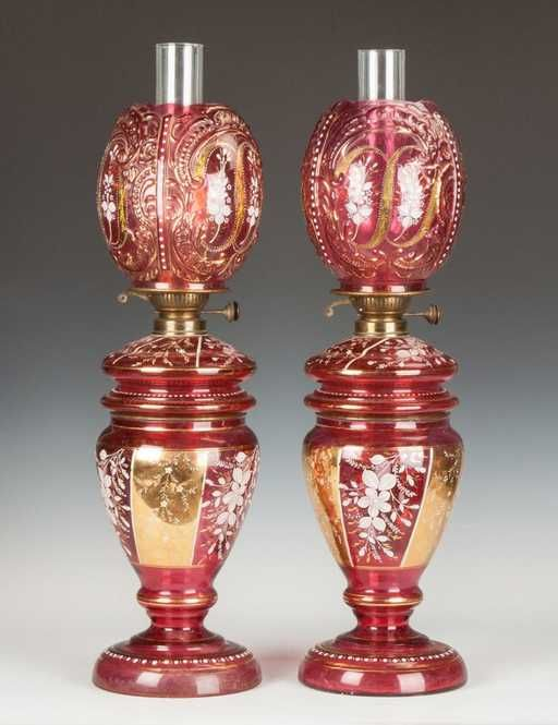 Lot: Pair of Victorian Cranberry Enameled & Gilded Oil Lamps, Lot Number: 0477, Starting Bid: $350, Auctioneer: Cottone Auctions, Auction: Art & Antique Auction, Date: May 9th, 2015 MSK