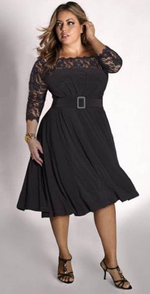 Moda Estilo Y Distinción Para Gorditas: Trajes de Fiesta -Negro Corto para Gorditas