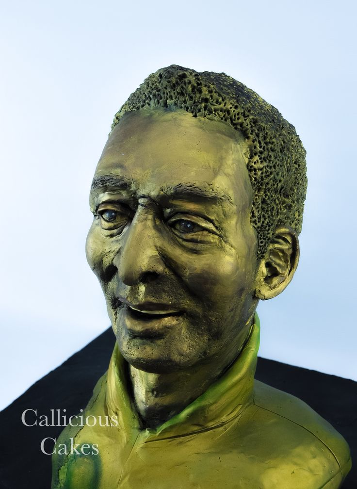 Pele. Legendary Brazilian Footballer. Sculpted Cake with marzipan and  modelling chocolate sculpting covering . #Pele #footballer #BrazilianFootballer #Brazil #Pelefootballer #calliciouscakes  http://cakesdecor.com/cakes/259772-pele-bust-60th-cake
