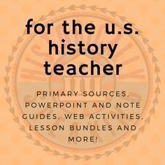 Pages of reasonably priced resources for the US History teacher.