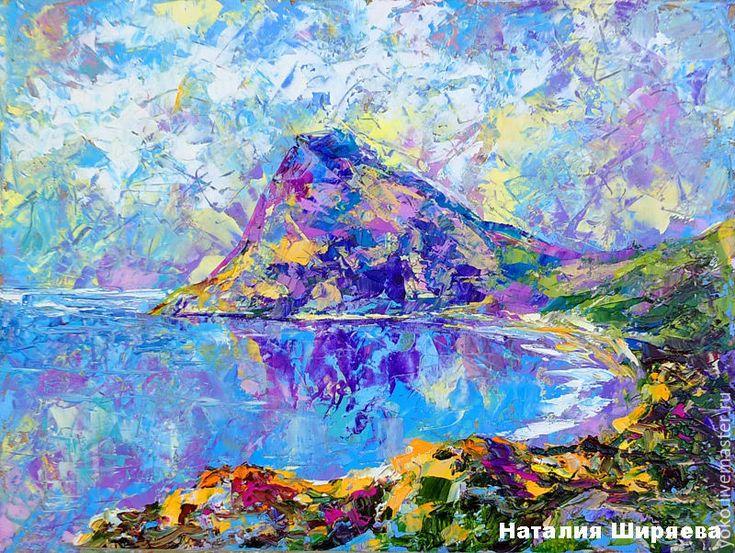 """Купить Картина """"Новый Свет. Крым"""" - картина маслом море - голубой, Ультрамарин, розовый, зеленый"""