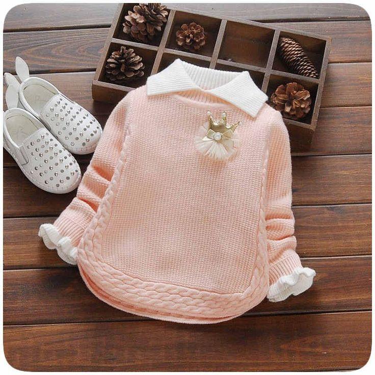 Мода детей свитер осень зима теплая девушки трикотажные отложным воротником свитера и пиджаки купить на AliExpress