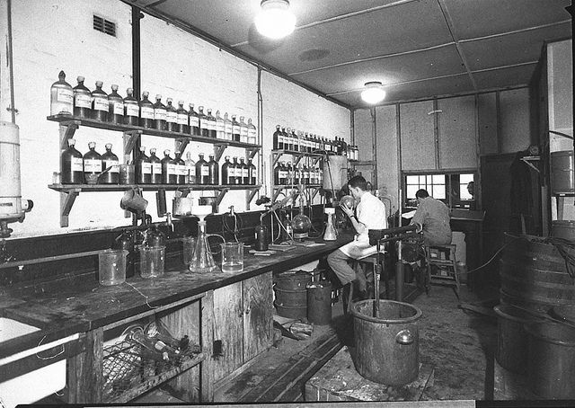 Chemists at work, Bayer, Darlington, Sydney, 13 June 1945 / Sam Hood