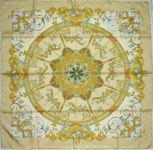 "HERMES MINT ""LUNA PARK"" by J Metz Yellow Jacquard Silk ScarfJacquard Silk, Hermes Silk, Silk Scarf, Silk Scarves"