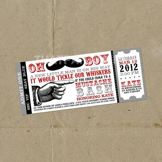 DIY Mustache Bash Party Ticket Style Invitations  by thatpartygirl, $14.99