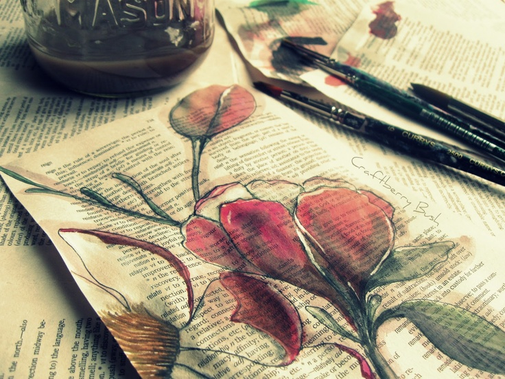 painting on book pages, and magnolia tutorial