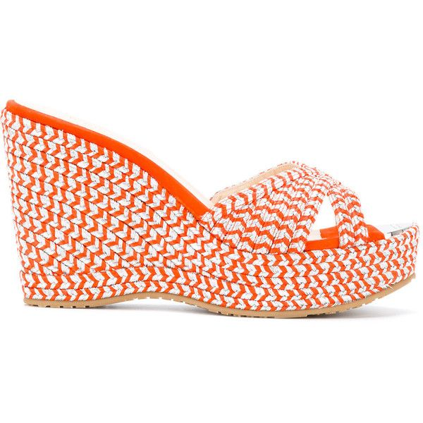 Jimmy Choo Perfumed Espadrille Wedges (£445) ❤ liked on Polyvore featuring shoes, sandals, orange wedge shoes, orange shoes, wedge heel sandals, jimmy choo shoes and wedge espadrilles