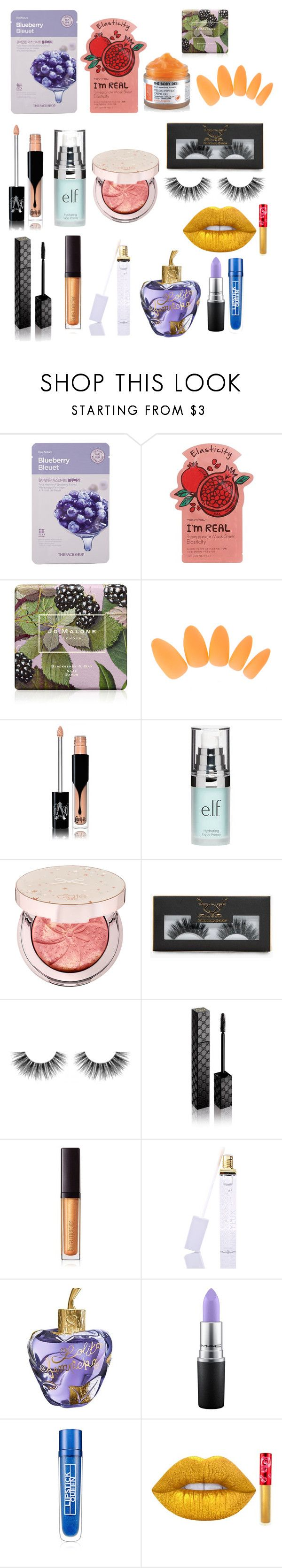 """ramdom"" by mfr-mtz ❤ liked on Polyvore featuring The Face Shop, Charlotte Russe, Jo Malone, Kat Von D, Old Navy, Ciaté, Boohoo, Velour Lashes, Gucci and Laura Mercier"
