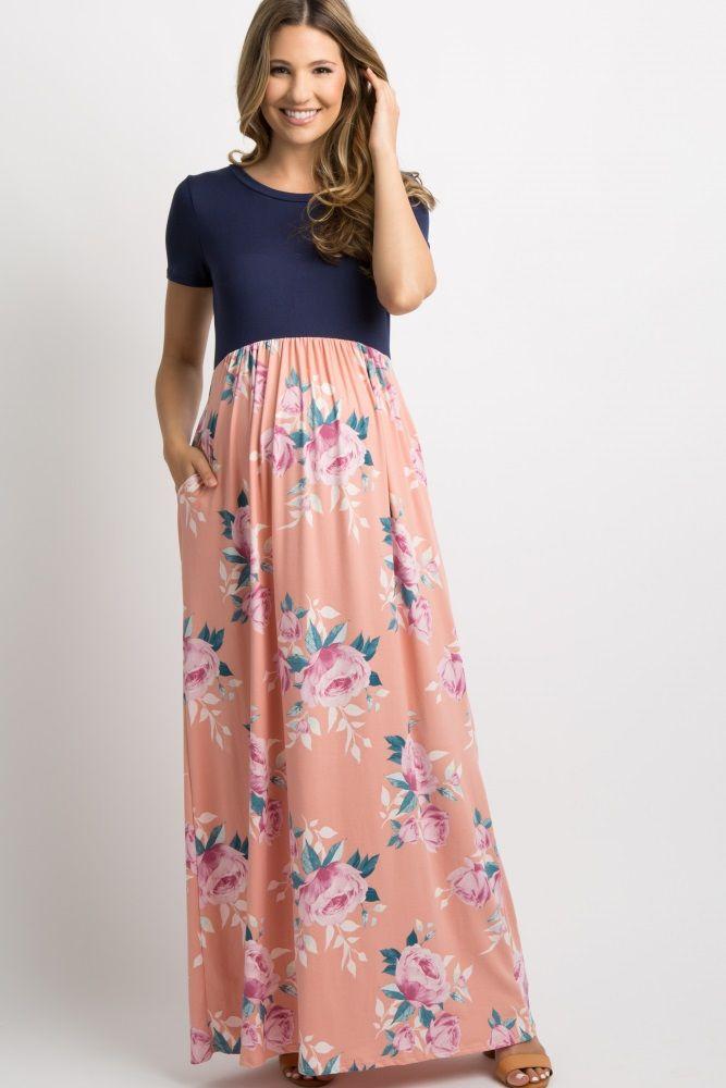 4fdc1e1e2f25e Pink Floral Colorblock Maxi Dress A colorblock maxi dress with a solid navy  top and floral