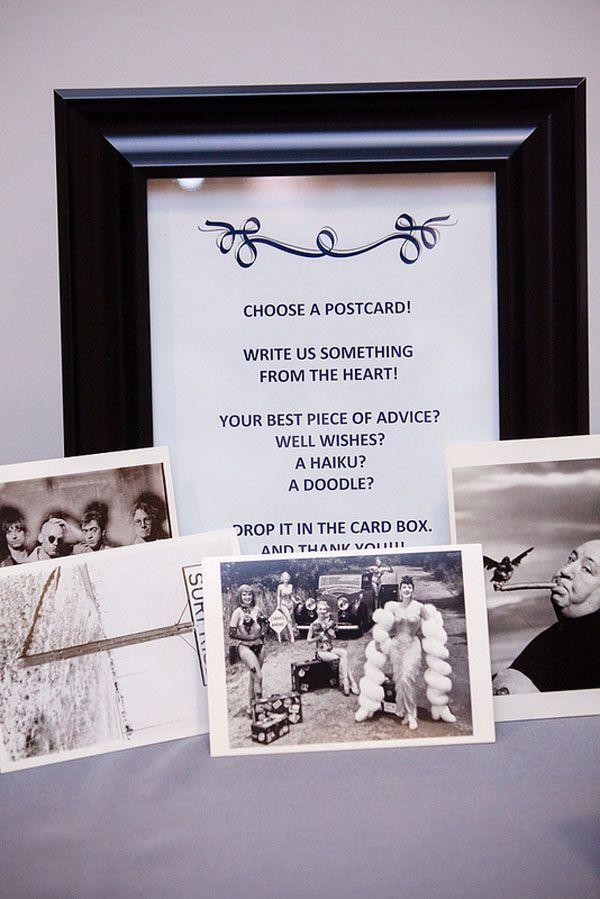 Antique Vegas Postcard Guestbook at Kerry and Manny's Rockin' 5th Street School Wedding | Mindy Bean Photography | Little Vegas Wedding