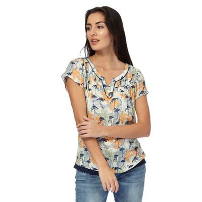 Mantaray Lime short sleeved flamingo notched neckline top | Debenhams