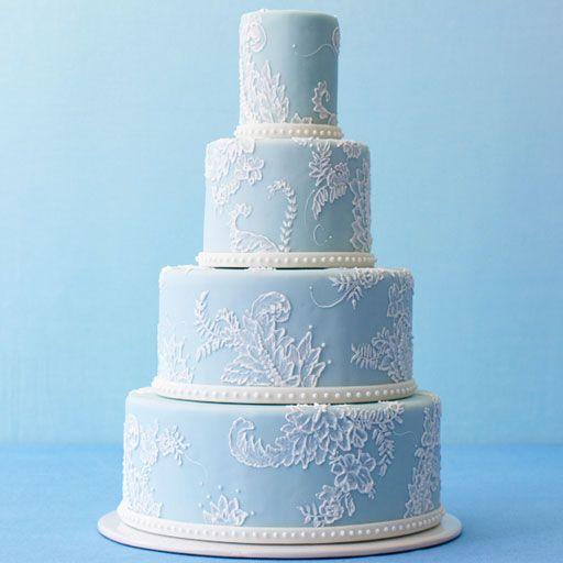 Painted flowers on this blue, wedding cake // Jan Kish Le Petite Fluer Cake