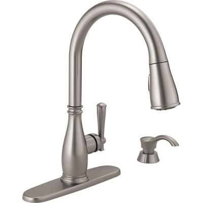 Delta Charmaine Single Handle Pull Down Sprayer Kitchen Faucet With Soap Dispenser And Magnatite