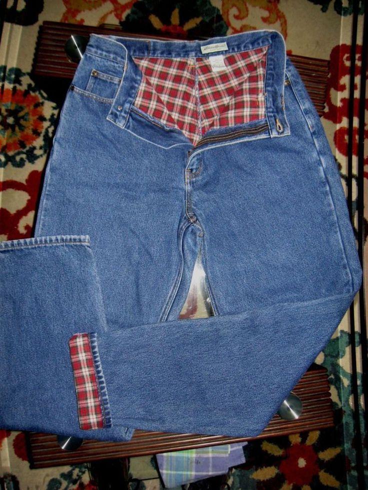 Eddie Bauer Women's Relaxed 12T Tall Flannel Lined Jeans  Mom Boyfriend XCLNT #EddieBauer #Boyfriendrelaxedstraightleg