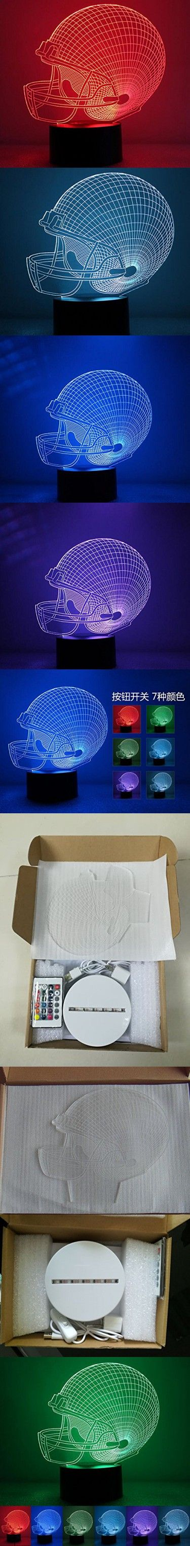 3D Led Night Light 7 Colors Football Cap Table Lamp for Christmas Gifts Home Decor