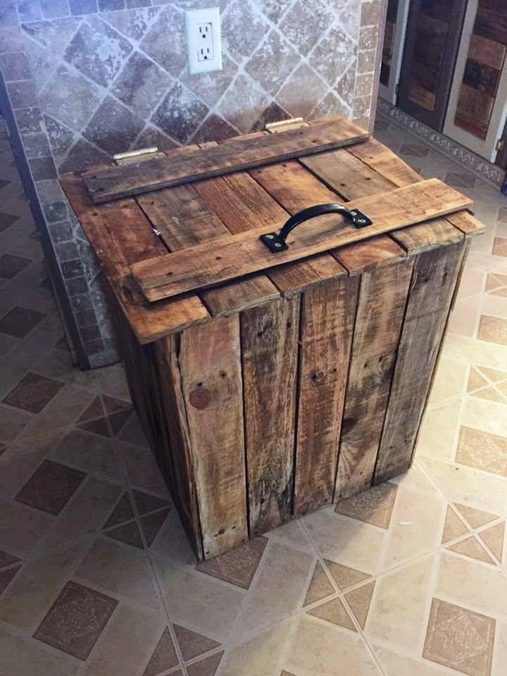 DIY Wood Pallet Trash Bin Wood Craft Diy Wood Projects