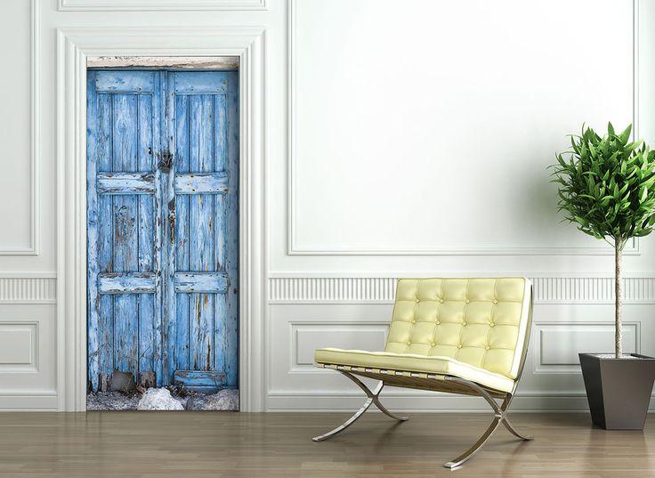 Türtapete selbstklebend   BLAUE HOLZ TÜR   selbstklebende Türtapeten Türposter