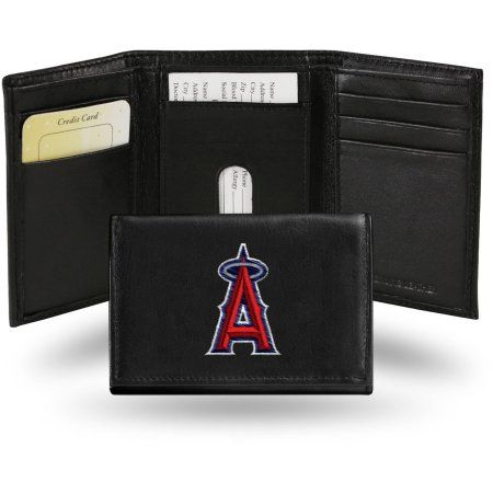 MLB - Men's Los Angeles Angels Embroidered Trifold Wallet, Grey