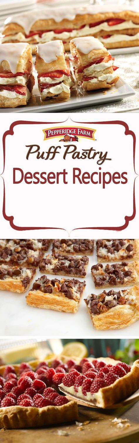 Puff Pastry Dessert Recipe Collection. Bring a sweet treat to your next barbecue! Find all of our favorite dessert recipes here from Island Sticky Puffs to Lemon Blueberry Petite Napoleons. Simply top Puff Pastry with fruit and cream, bake a batch of out of this world Puff Pastry chocolate cookie bars, or impress every guest with a gorgeous tart. These desserts make the most of summer flavors: strawberries, blueberries, s'mores, banana cream, tropical mango, sweet peaches and so much more!