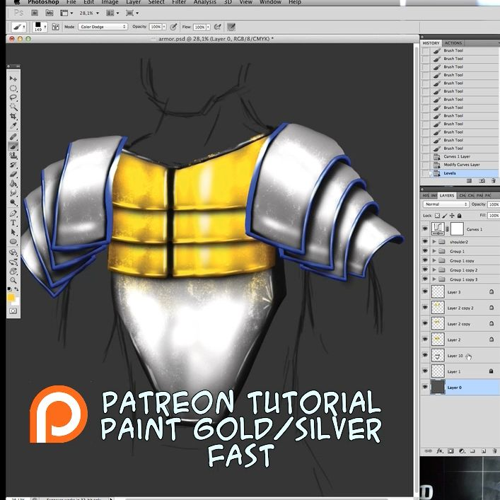 Tutorial Fast painting Gold and Silver by weroidiota.deviantart.com on @DeviantArt