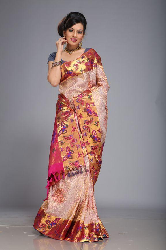 #beautiful butterfly design in silk saree. #most popular design of our creative work.