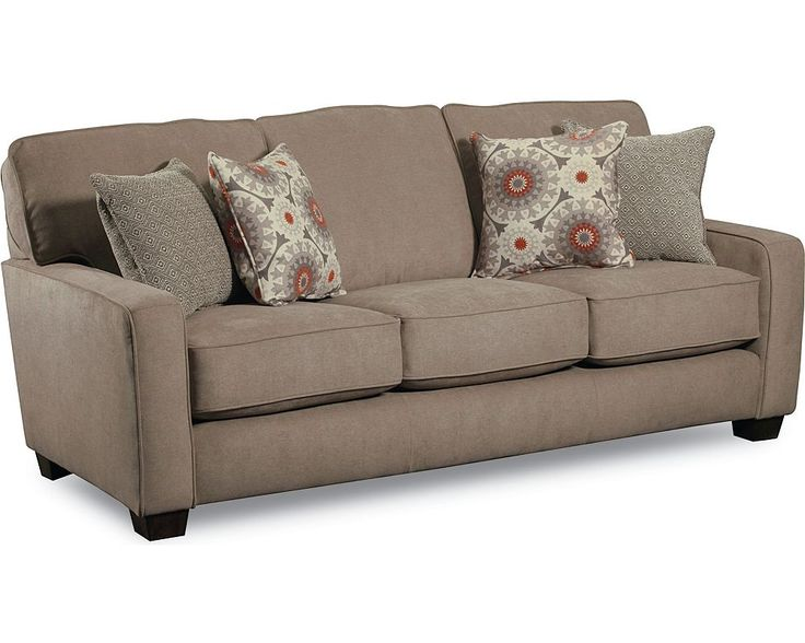 Sleeper Sofa With Matching Reclining Loveseat With Palm Print Accent Pillows Set On Medium