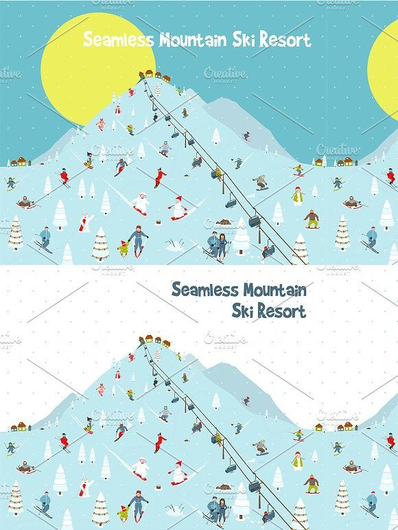 Cartoon Mountains Skyline Ski Resort. Patterns