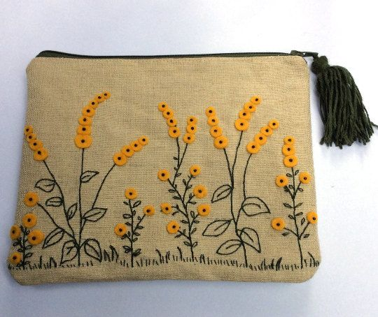 Natural linen pouch slim shape pouch  mimoza flowers by Apopsis