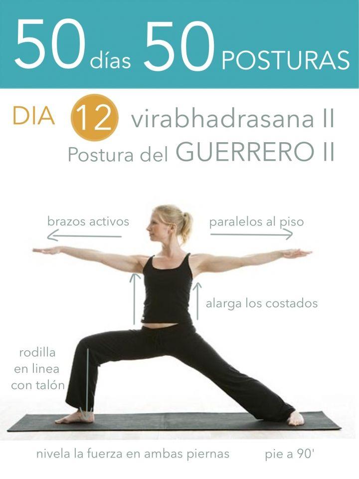 ૐ YOGA ૐ ૐ ASANAS ૐ ૐ Virabhadrasana II ૐ 50 días 50 posturas. Día 12. Postura del Guerrero II