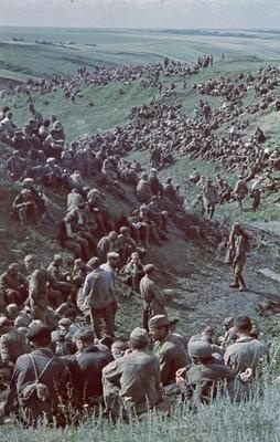 Soviet Red Army prisoners of war over the landscape..