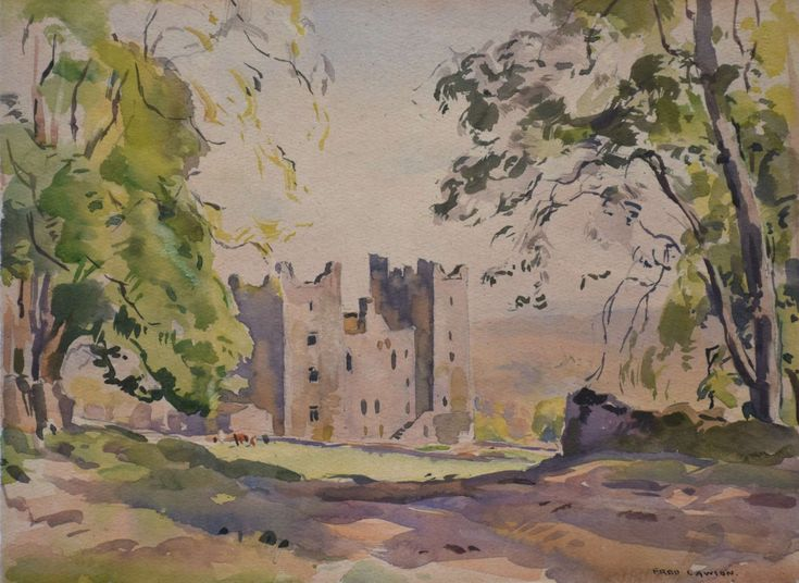 Medium - Watercolour on grey, wove paper, signed in lower rightDimensions - 27.8 x 38cm (h x w)UnframedLawson made his home in Castle Bolton after a visit there in 1910. He painted many scenes of the castle and surrounding countryside, some for publication and his work is much loved and collected.