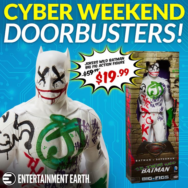 DEAL OF THE DAY Cyber Weekend Sale - Batman Doorbursters and Lots More! Sunday, November 26, 2017  The next suite of savings is in our Cyber Weekend Sale! We have hundreds of items on sale, including a killer deal on the Clown Prince of Crime-inspired Batman v Superman: Jokers Wild Batman - Convention Exclusive.  TO BUY CLICK ON LINK BELOW http://tomatovisiontv.wix.com/tomatovision2#!action-figure/c1t9c