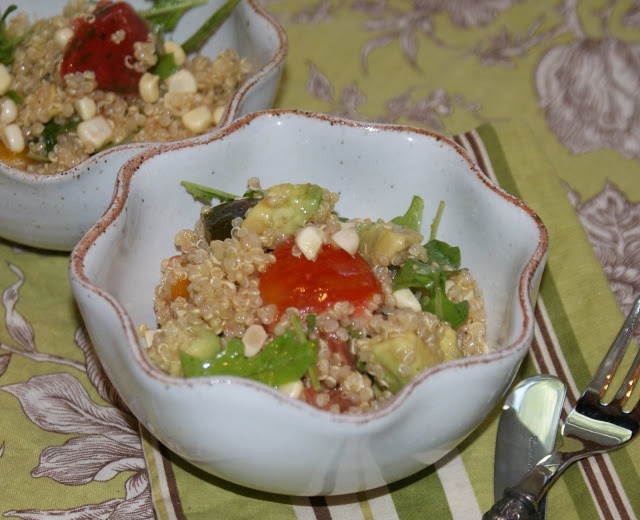 Quinoa, Corn, Avocado & Heirloom Tomato Salad—Sherry Vinaigrette