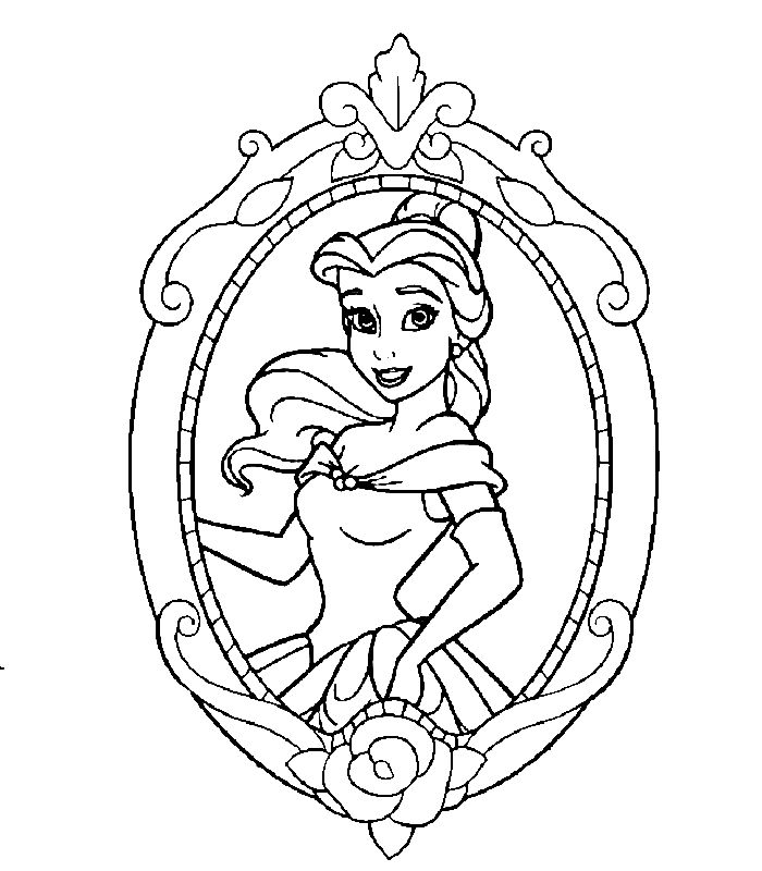 Printable Coloring Page Disney Princess Belle