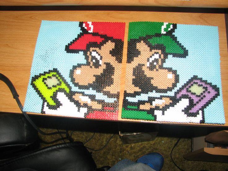 Mario and Luigi perler beads by ndbigdi on deviantART