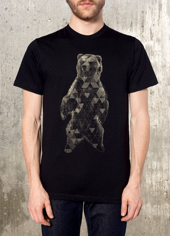 Grizzly Bear and Triangles Discharge Printed by CrawlSpaceStudios, $26.00
