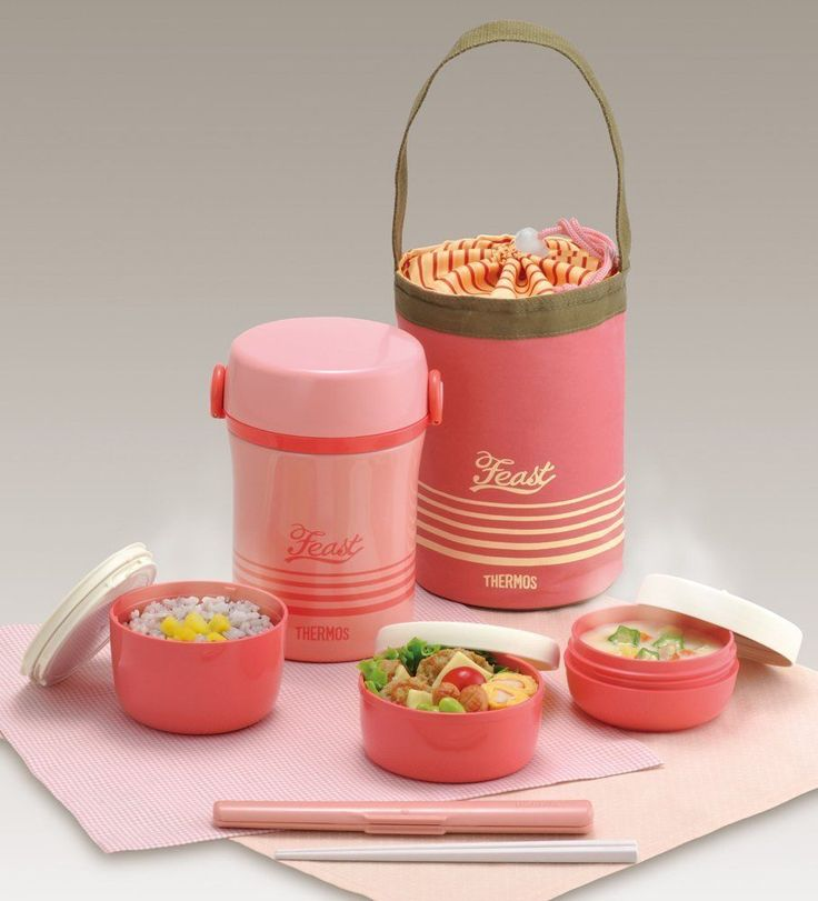 NEW THERMOS BENTO LUNCH BOX Coral Pink Stainless Thermal Insulation Hot lunch #Thermos